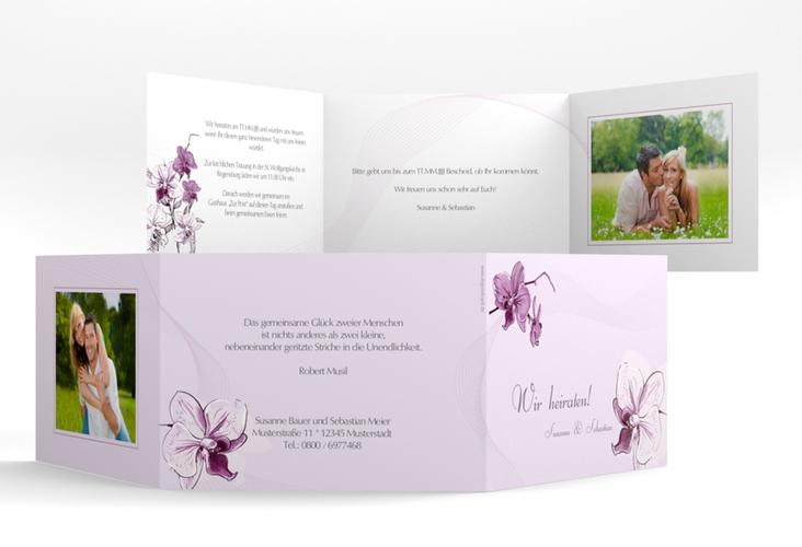 """Einladung Hochzeit """"Modena"""" A6 doppelt geklappt lila"""