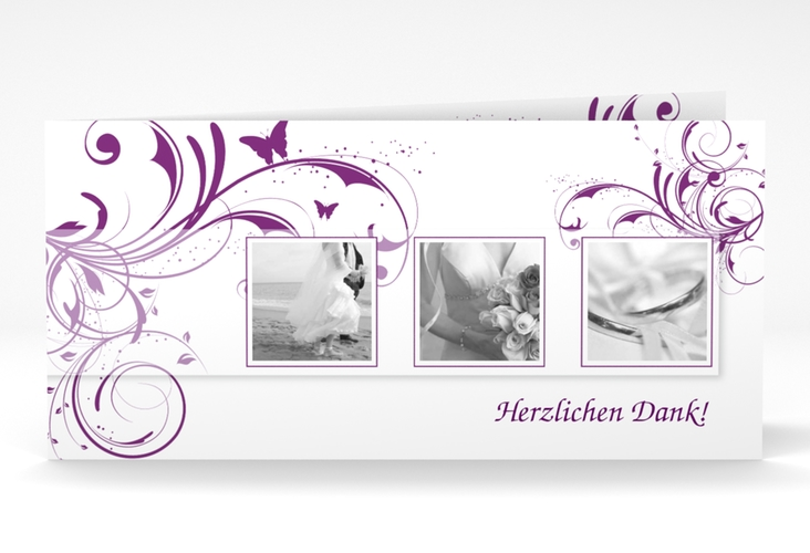 "Dankeskarte Hochzeit ""Palma"" DIN lang Klappkarte lila"
