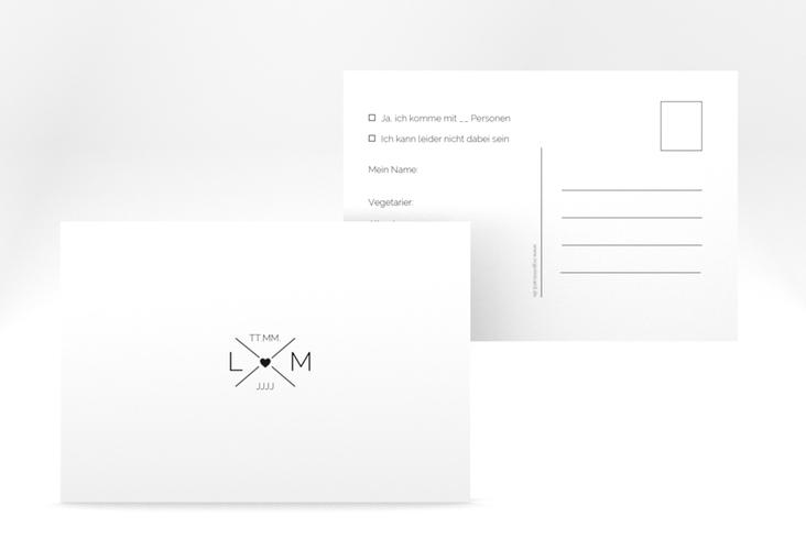 """Antwortkarte Hochzeit """"Initials"""" A6 Postkarte schwarz"""