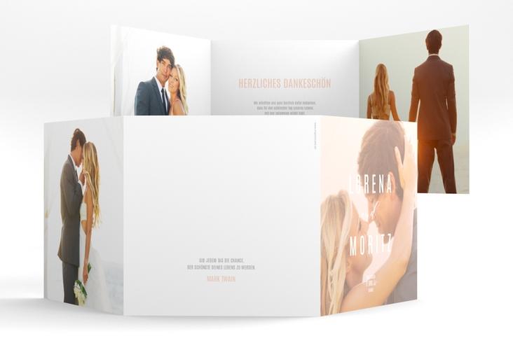 """Dankeskarte Hochzeit """"Memory"""" Quadr. Karte doppelt rosa"""
