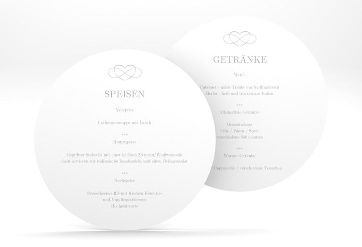 """Menükarte Hochzeit """"Infinity"""" rund grau"""
