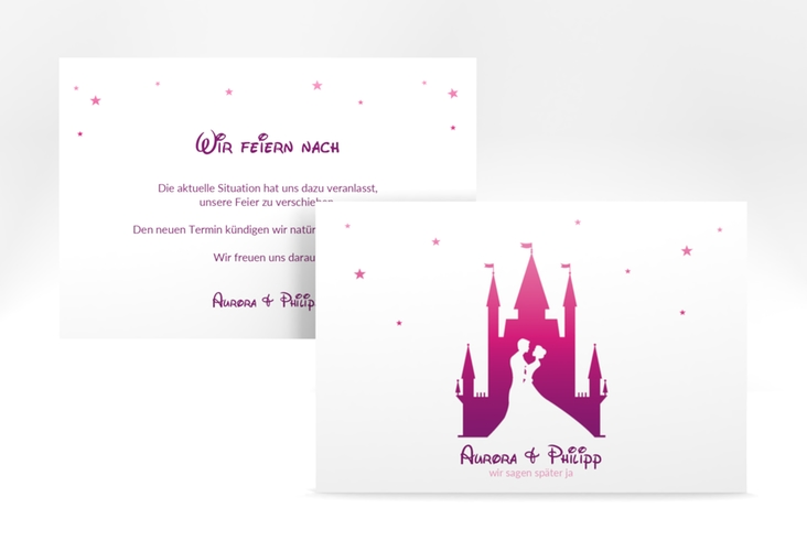 "Change the Date-Karte ""Castle"" A6 quer pink"