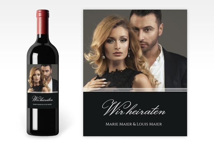 """Weinetikett zur Hochzeit """"Elegancy"""" Etikett Weinflasche 4er Set schwarz"""