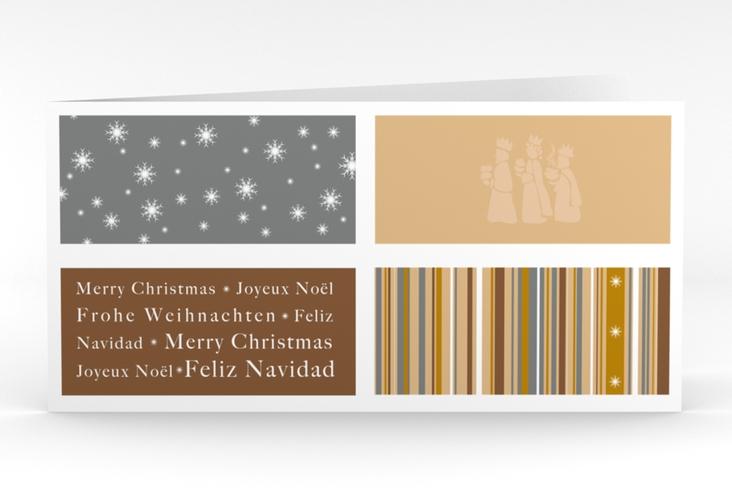 """Weihnachtskarte """"Morgenland"""" DIN lang Klappkarte braun"""