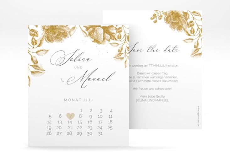 "Save the Date-Kalenderblatt ""Blattgold"" Kalenderblatt-Karte"
