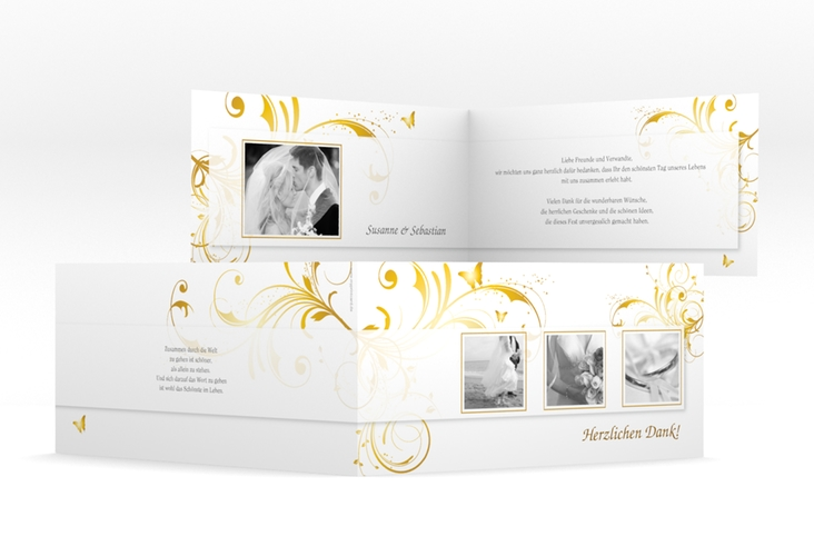 "Dankeskarte Hochzeit ""Palma"" DIN lang Klappkarte gold"