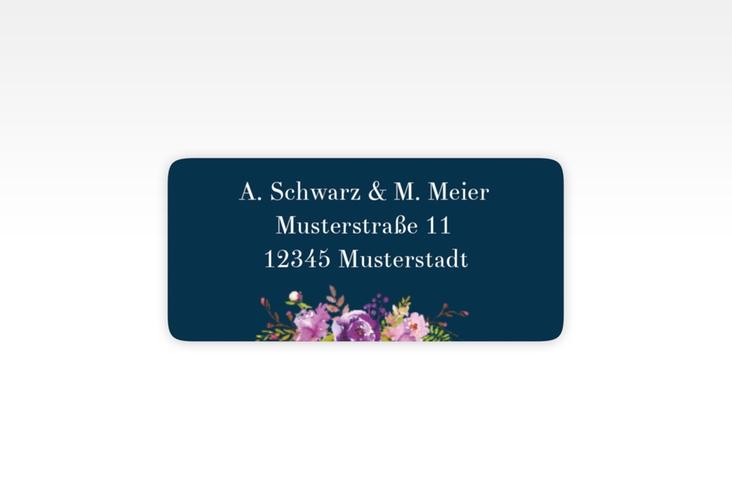 """Absenderetikett Hochzeit """"Violett"""" 45,7 x 21,2 mm blau"""