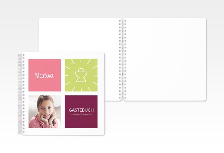 "Gästebuch Kommunion ""Arcula"" Ringbindung pink"