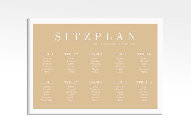 "Sitzplan Leinwand Hochzeit ""Simply"" 70 x 50 cm Leinwand beige"