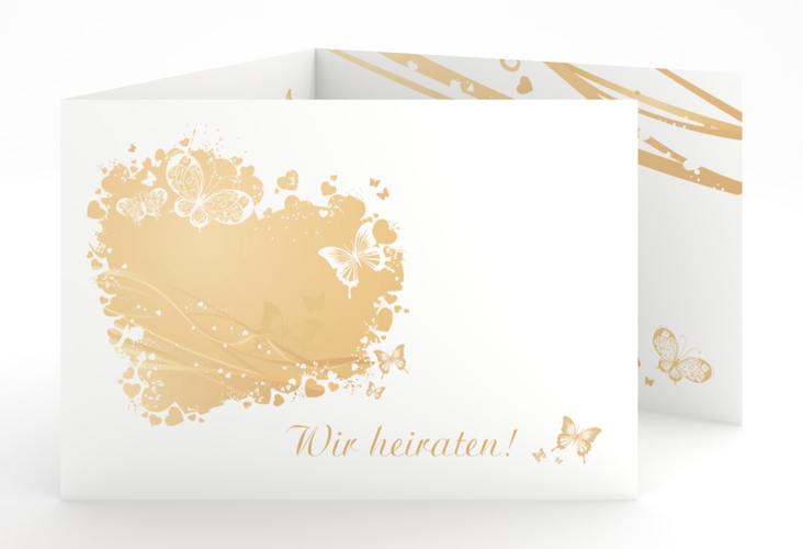 """Hochzeitseinladung """"Mailand"""" A6 doppelt geklappt beige"""