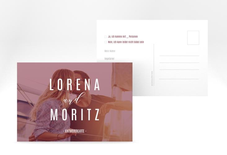 "Antwortkarte Hochzeit ""Memory"" A6 Postkarte rot"