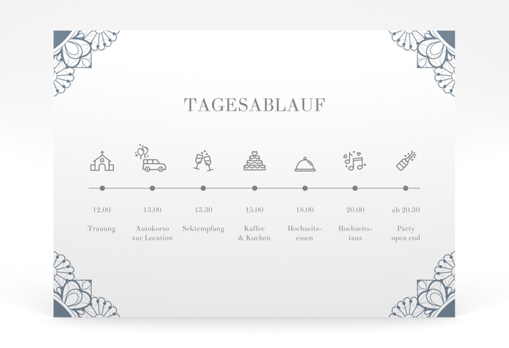 """Tagesablauf Poster Hochzeit """"Nostalgie"""" 70 x 50 cm Poster blau"""