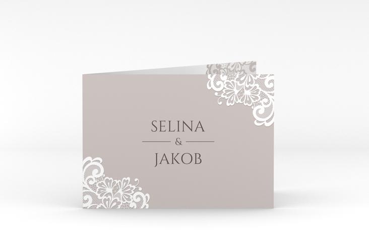 """Dankeskarte Hochzeit """"Vintage"""" A6 Klappkarte Quer grau"""