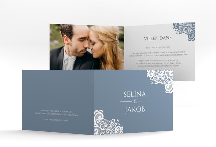 """Dankeskarte Hochzeit """"Vintage"""" A6 Klappkarte Quer blau"""