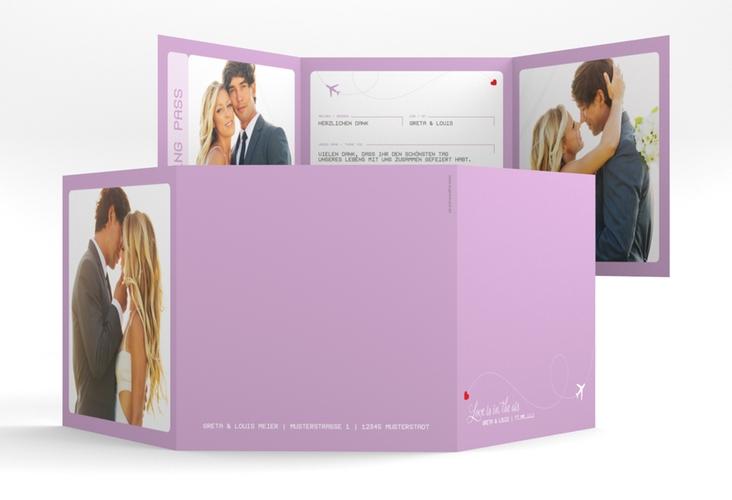 "Dankeskarte Hochzeit ""Weddingpass"" Quadr. Karte doppelt flieder"