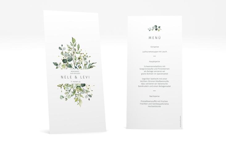 """Menükarte Hochzeit """"Enchanting"""" DIN lang hoch weiss"""