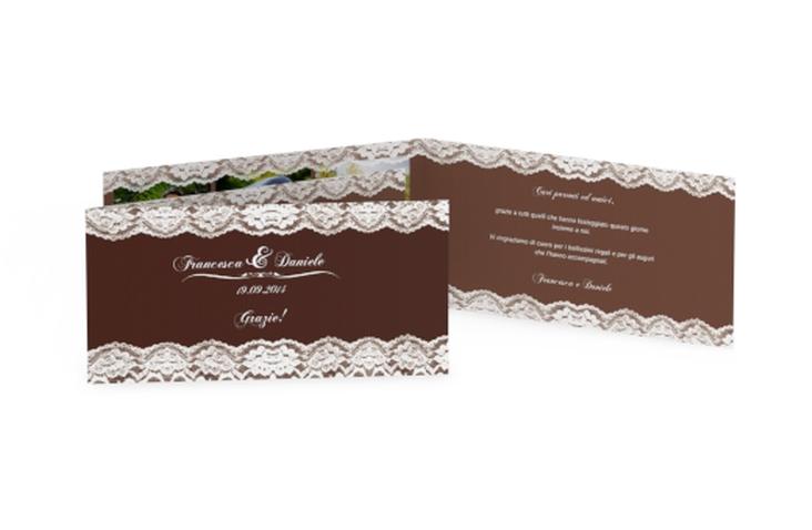 Ringraziamenti matrimonio collezione Montreux DIN lang Klappkarte marrone