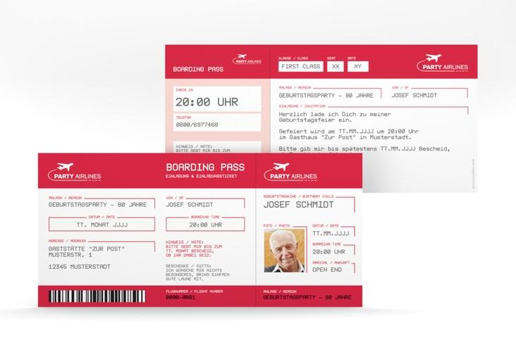 """Einladungskarte """"Boardingpass"""" DIN lang rot"""