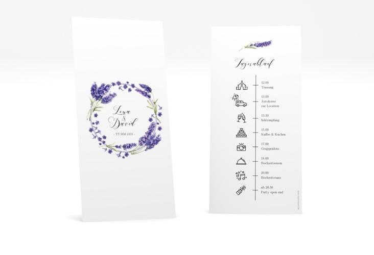 """Tagesablauf Hochzeit """"Lavendel"""" DIN lang hoch"""