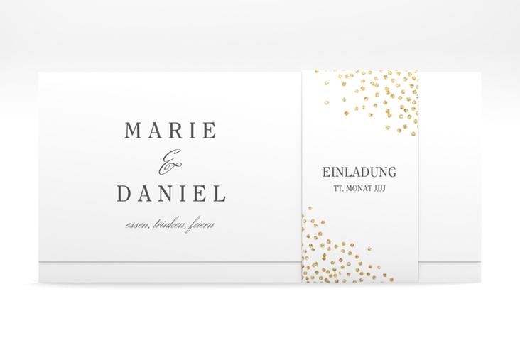 """Hochzeitseinladung """"Glitter"""" DIN lang Wickelfalz weiss"""