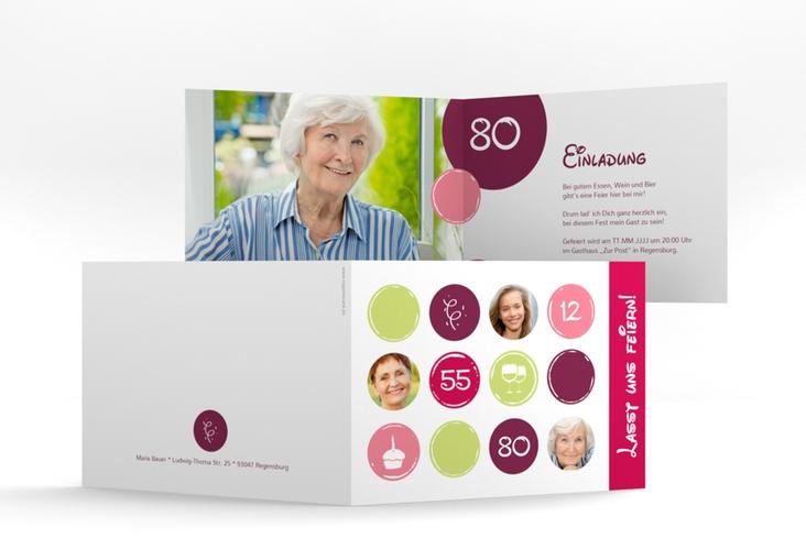 "Einladungskarte ""Circles"" A6 Klappkarte Quer pink"