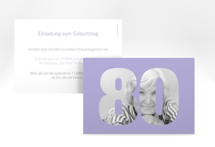 """Einladungskarte """"Numbers"""" A6 quer flieder"""