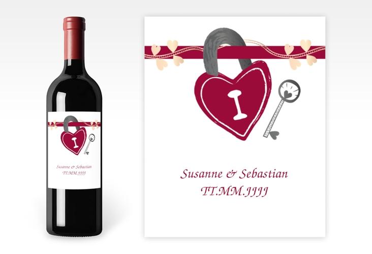 """Weinflaschenetikett Hochzeit """"Oviedo"""" Etikett Weinflasche 4er Set pink"""