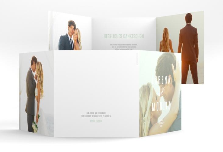 """Dankeskarte Hochzeit """"Memory"""" Quadr. Karte doppelt mint"""