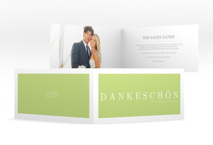 "Dankeskarte Hochzeit ""Simply"" DIN lang Klappkarte gruen"