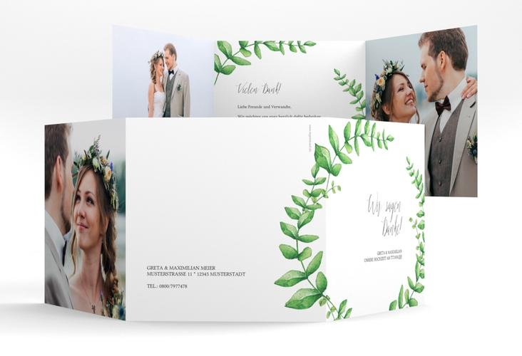 "Dankeskarte Hochzeit ""Botanic"" Quadr. Karte doppelt weiss"