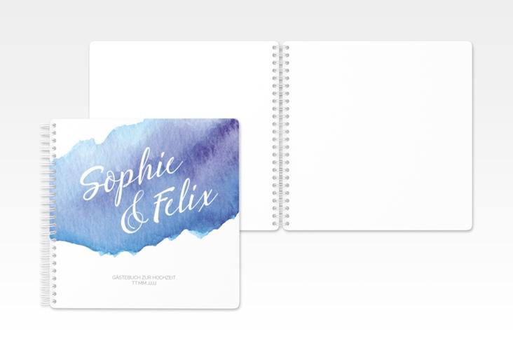 "Gästebuch Hochzeit ""Aquarella"" Ringbindung blau"