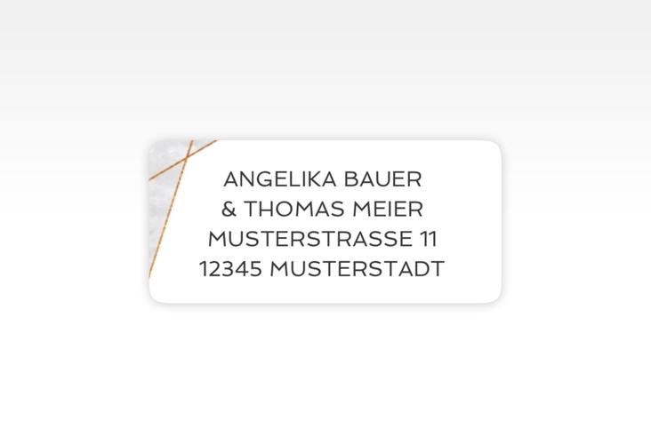 """Absenderetikett Hochzeit """"Asymmetry"""" 45,7 x 21,2 mm grau"""