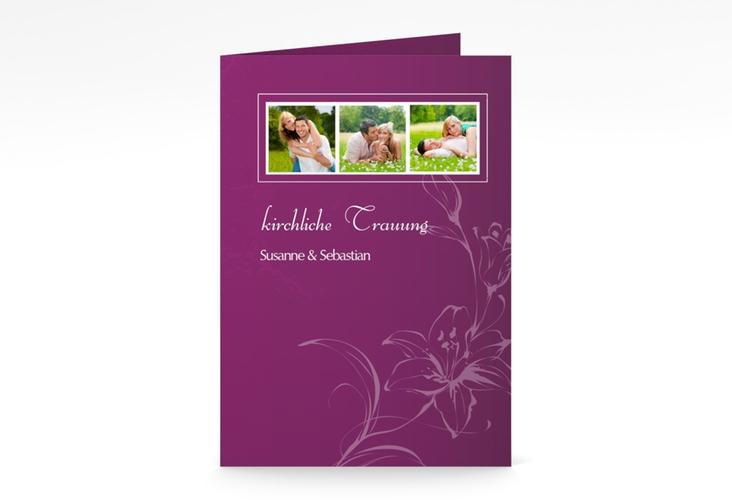 """Kirchenheft Hochzeit """"Lille"""" DIN A5 geklappt pink"""
