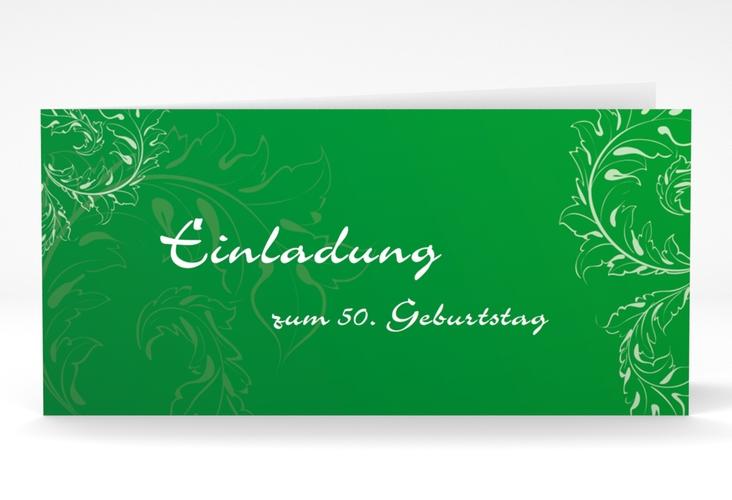 """Einladungskarte """"Peter/Petra"""" DIN lang Klappkarte gruen"""