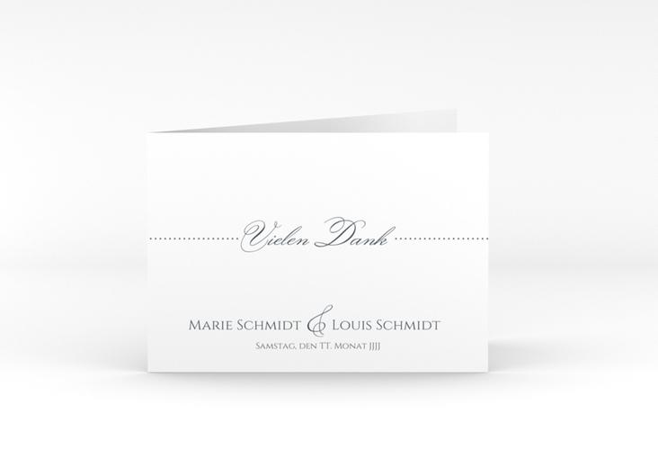"""Dankeskarte Hochzeit """"Pure"""" A6 Klappkarte Quer grau"""