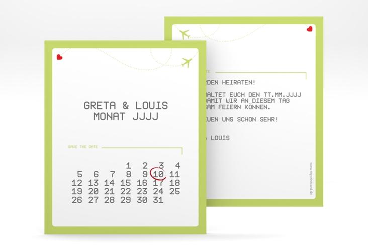 "Save the Date-Kalenderblatt ""Weddingpass"" Kalenderblatt-Karte gruen"