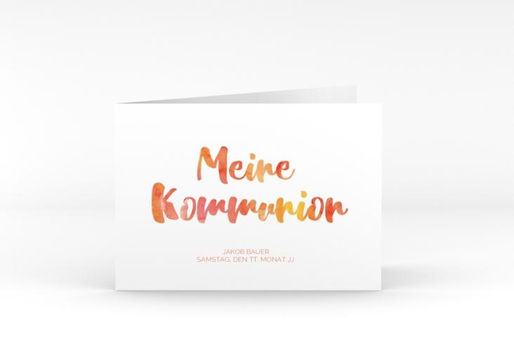 """Kommunionseinladung """"Flora"""" A6 Klappkarte Quer orange"""