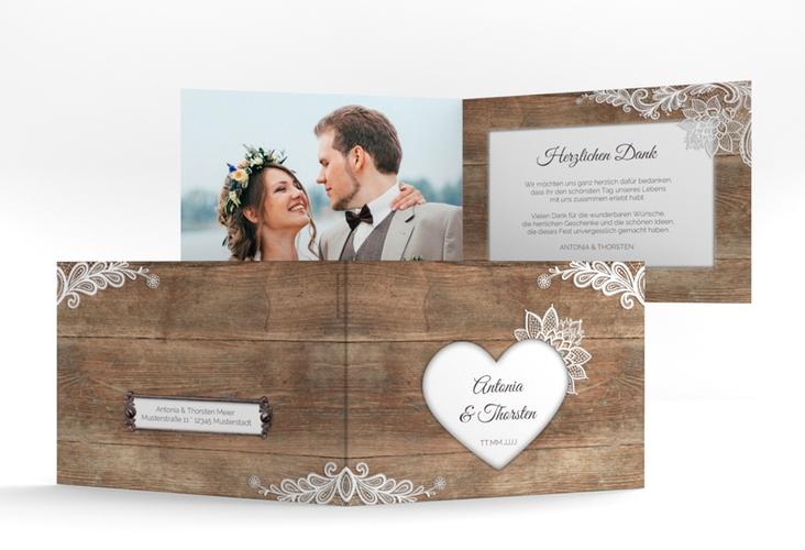 "Danksagungskarte Hochzeit ""Spitze"" A6 Klappkarte Quer"