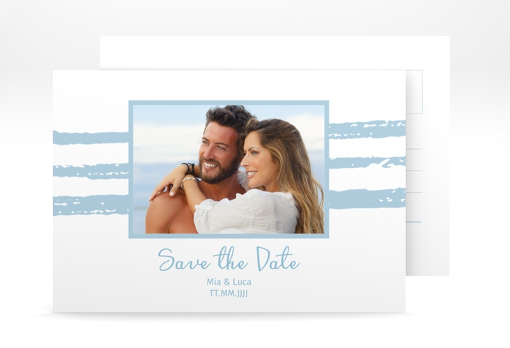 "Save the Date-Postkarte ""Mare"" A6 Postkarte blau"