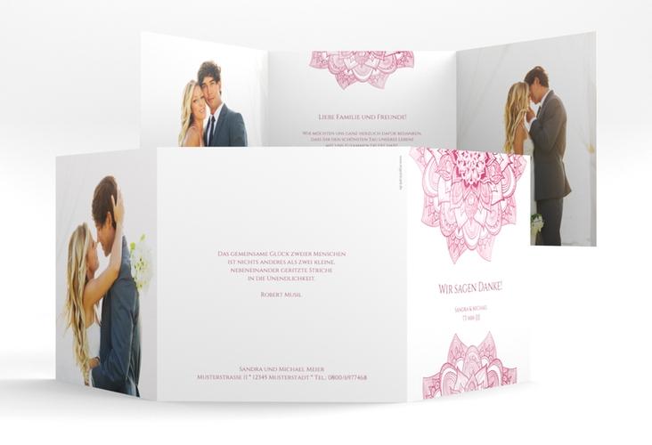 """Dankeskarte Hochzeit """"Delight"""" Quadr. Karte doppelt pink"""
