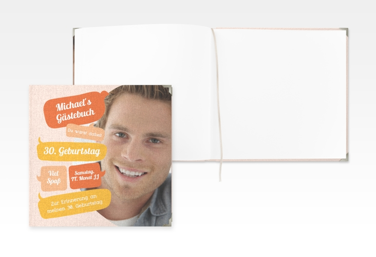 "Gästebuch Selection Geburtstag ""Whatsup"" Leinen-Hardcover orange"