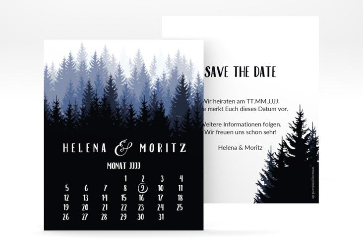 "Save the Date-Kalenderblatt ""Forest"" Kalenderblatt-Karte blau"
