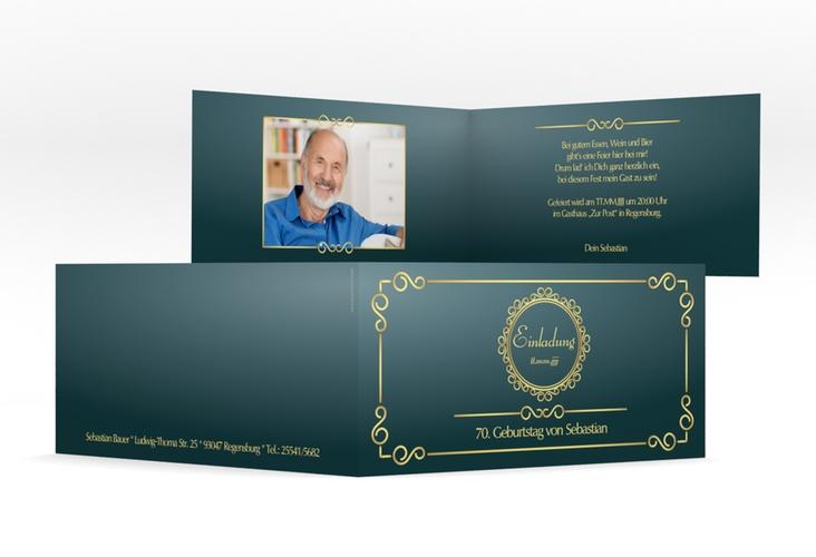 """Einladungskarte """"Bert/Berta"""" DIN lang Klappkarte blau"""