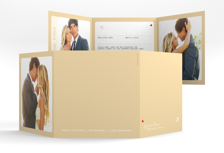 "Dankeskarte Hochzeit ""Weddingpass"" Quadr. Karte doppelt beige"