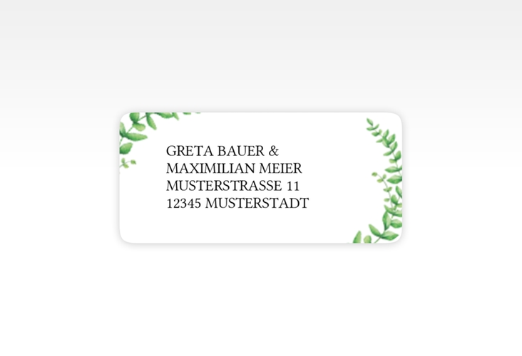 """Absenderetikett Hochzeit """"Botanic"""" 45,7 x 21,2 mm weiss"""