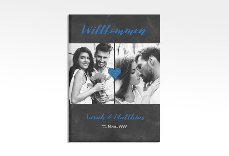 """Willkommensschild Hochzeit """"Sparkly"""" 50 x 70 cm Leinwand blau"""