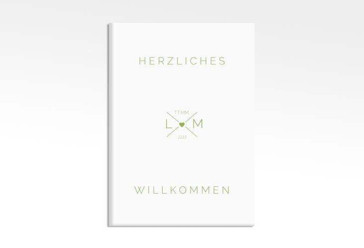 """Willkommensschild Hochzeit """"Initials"""" 50 x 70 cm Leinwand gruen"""