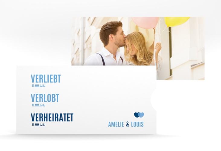 """Hochzeitseinladung """"Couple"""" Einsteckkarte blau"""