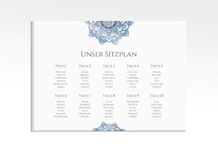 "Sitzplan Leinwand Hochzeit ""Delight"" 70 x 50 cm Leinwand blau"