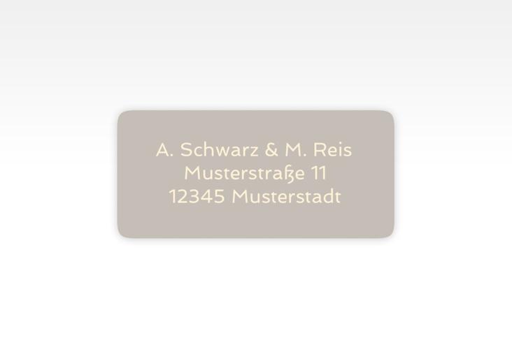 """Absenderetikett Hochzeit """"Glam"""" 45,7 x 21,2 mm grau"""
